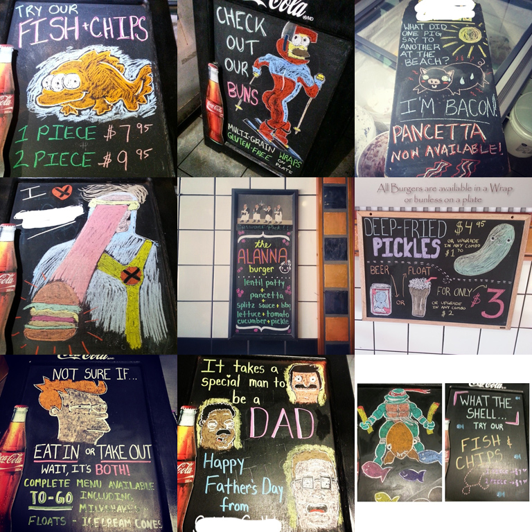 chalk-board-art-alanna-edwards-simpsons-kingofthehill-gameofthrones-ninjaturtles-xmen-clevelandshow-bobsburgers